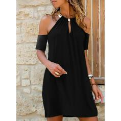 NEW! Solid Cold Shoulder Sleeve Shift Above Knee Casual/Vacation Dresses