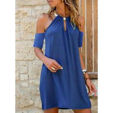 Load image into Gallery viewer, NEW! Solid Cold Shoulder Sleeve Shift Above Knee Casual/Vacation Dresses