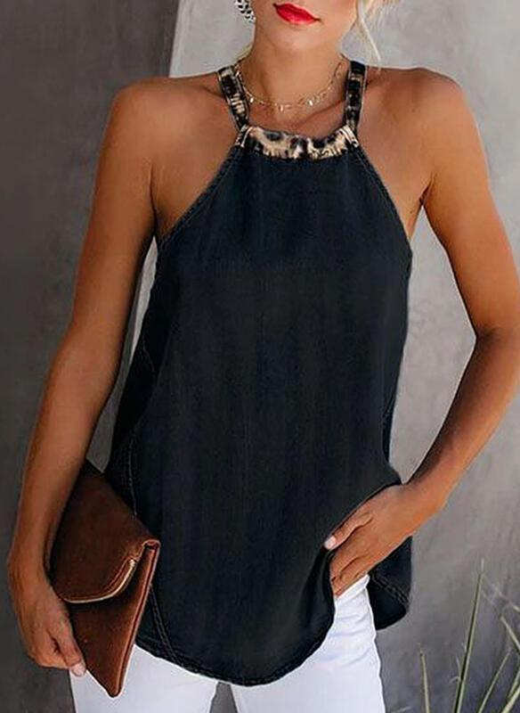 NEW! Solid Round Neck Sleeveless Casual Tank Tops