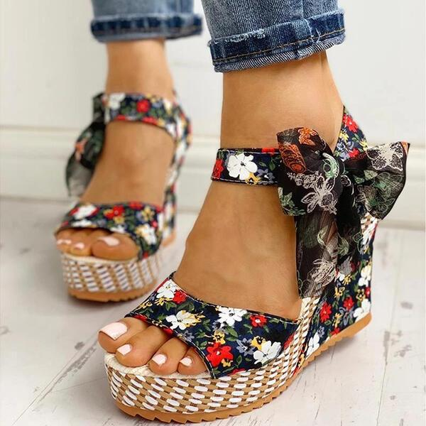 NEW! Women's Cloth Wedge Heel Sandals Peep Toe With Bowknot shoes