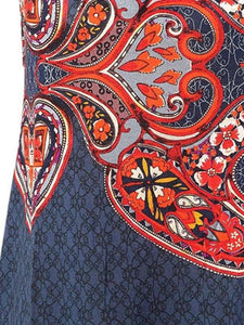 Paisley Pattern Summer Sling Slim Fit Sleeveless Casual Dress