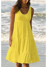 Load image into Gallery viewer, PANELED SOLID SLEEVELESS BEACH MIDI DRESS
