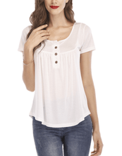 Load image into Gallery viewer, Pleated Button Loose Short Sleeve T-Shirt