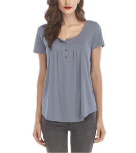 Pleated Button Loose Short Sleeve T-Shirt