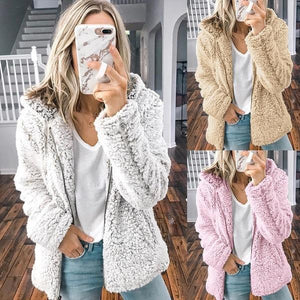 Plush Zipper Hooded Sweatshirt Coat