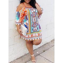 Load image into Gallery viewer, Print 3/4 Sleeves/Cold Shoulder Sleeve Shift Above Knee Casual/Boho/Vacation/Plus Size Dresses