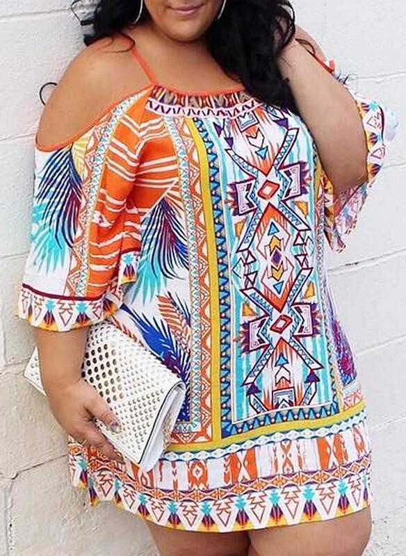 Print 3/4 Sleeves/Cold Shoulder Sleeve Shift Above Knee Casual/Boho/Vacation/Plus Size Dresses