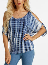 Load image into Gallery viewer, Print Cold Shoulder 1/2 Sleeves Casual Plus Size Blouses