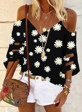 Load image into Gallery viewer, Print Cold Shoulder 3/4 Sleeves Casual Blouses