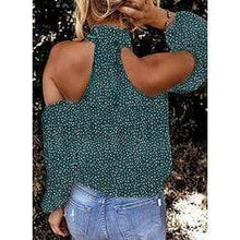 Load image into Gallery viewer, Print Cold Shoulder Long Sleeves Casual Blouses