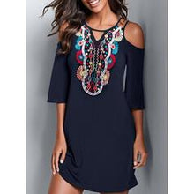 Load image into Gallery viewer, Print Cold Shoulder Sleeve Sheath Above Knee Casual Dresses