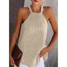 Print Cold Shoulder Sleeveless Casual Sexy Tank Tops