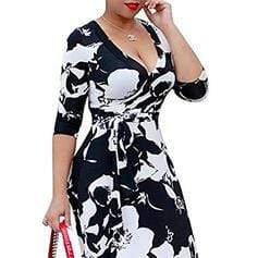 Print/Floral 3/4 Sleeves A-line Casual/Vacation/Plus Size Maxi Dresses