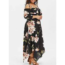 Load image into Gallery viewer, Print/Floral 3/4 Sleeves/Cold Shoulder Sleeve A-line Casual/Vacation/Plus Size Midi Dresses