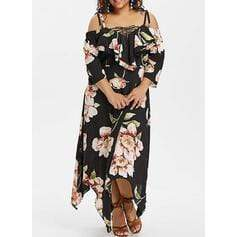Print/Floral 3/4 Sleeves/Cold Shoulder Sleeve A-line Casual/Vacation/Plus Size Midi Dresses