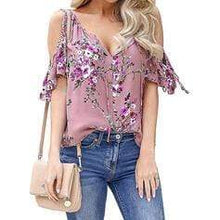 Load image into Gallery viewer, Print Floral Cold Shoulder Short Sleeves Casual Blouses