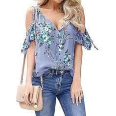 Print Floral Cold Shoulder Short Sleeves Casual Blouses