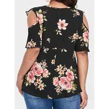 Load image into Gallery viewer, Print Floral Lace Cold Shoulder 1/2 Sleeves Casual Plus Size Blouses