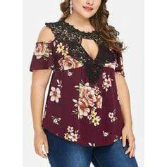 Print Floral Lace Cold Shoulder 1/2 Sleeves Casual Plus Size Blouses