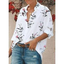 Load image into Gallery viewer, Print Floral Lapel 3/4 Sleeves Casual Shirt Blouses
