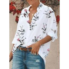 Print Floral Lapel 3/4 Sleeves Casual Shirt Blouses