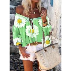 Print Floral Off the Shoulder Long Sleeves Casual Blouses TOPS