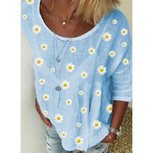 Load image into Gallery viewer, Print Floral Round Neck Long Sleeves Casual T-shirts