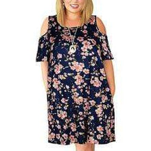 Load image into Gallery viewer, Print/Floral Short Sleeves Shift Above Knee Casual/Vacation/Plus Size Dresses