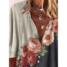 Load image into Gallery viewer, Print Floral V-Neck 3/4 Sleeves Button Up Casual Blouses