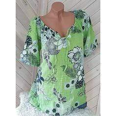 Print Floral V-Neck Short Sleeves Casual Blouse