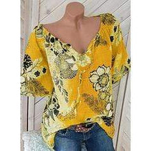 Load image into Gallery viewer, Print Floral V-Neck Short Sleeves Casual Blouse