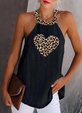 Load image into Gallery viewer, Print Leopard Round Neck Sleeveless Casual Tank Tops