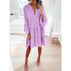 Print Long Sleeves/Flare Sleeves Shift Knee Length Casual Dresses