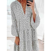 Load image into Gallery viewer, Print Long Sleeves/Flare Sleeves Shift Knee Length Casual Dresses