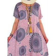 Load image into Gallery viewer, Print Short Sleeves Shift Casual/Plus Size Midi Dresses