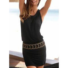 Load image into Gallery viewer, Print Sleeveless Sheath Above Knee Little Black/Vacation Dresses