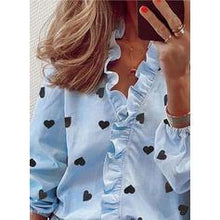 Load image into Gallery viewer, Print V-Neck Lantern Sleeve Long Sleeves Button Up Casual Shirt Blouses