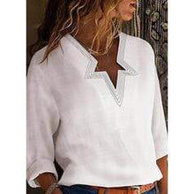 Load image into Gallery viewer, Print V-Neck Long Sleeves Casual Blouses