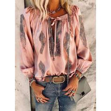 Load image into Gallery viewer, Print V-Neck Long Sleeves Casual Elegant Blouses