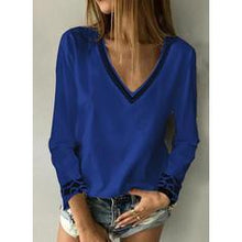 Load image into Gallery viewer, Print V-Neck Long Sleeves Casual Knit Blouses