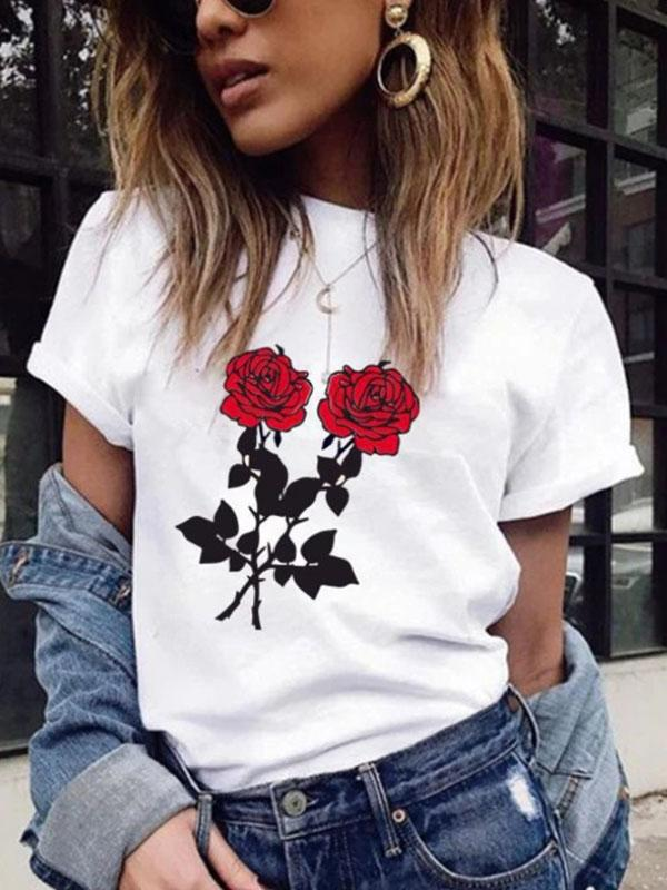 Rose Short Sleeve Round Neck T-Shirt