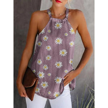 Load image into Gallery viewer, Round  Daisy Sleeveless Casual Tank Tops
