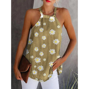Round  Daisy Sleeveless Casual Tank Tops