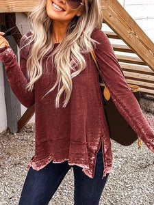 Round Neck Casual Tops Long Sleeved T-shirt | ZDT