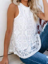 Load image into Gallery viewer, Round Neck  Decorative Lace  Blouse