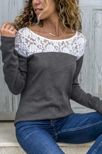 Round Neck  Lace Patchwork T-Shirts Blouse