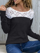 Load image into Gallery viewer, Round Neck  Lace Patchwork T-Shirts Blouse
