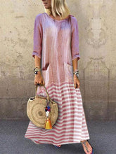 Load image into Gallery viewer, Round Neck Long Sleeve Stripe Sidekick Ruffled Loose Splicing Dress