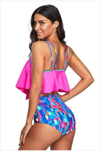 Ruffled Irregular Split Swimsuit