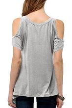 Load image into Gallery viewer, Scoop Neck Plain Short Sleeve T-Shirts